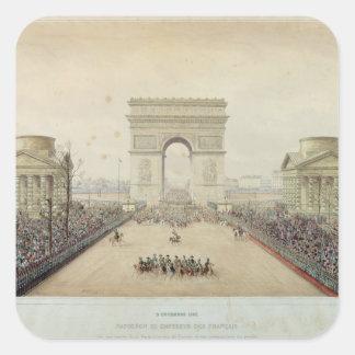 Entrada de Napoleon III en París Pegatina Cuadrada