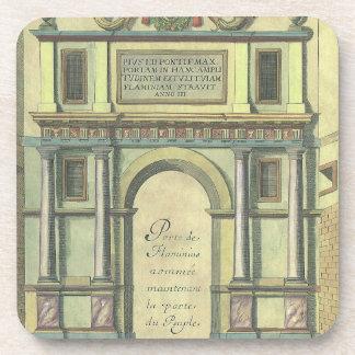 Entrada de puerta de la iglesia de la arquitectura posavasos de bebida
