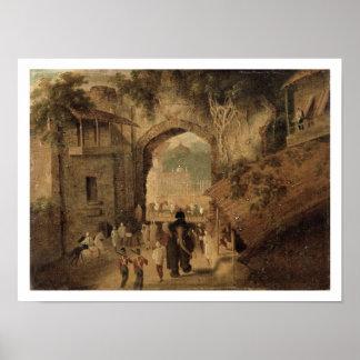 Entrada del este, Patna, 1825 (aceite en lona) Póster