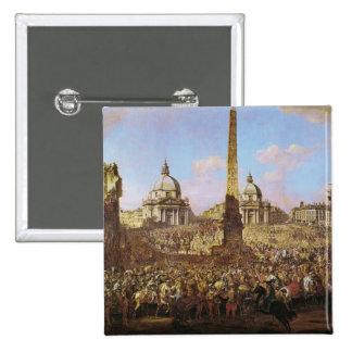 Entrada en Roma de Jerzy Ossolinski Pin Cuadrado