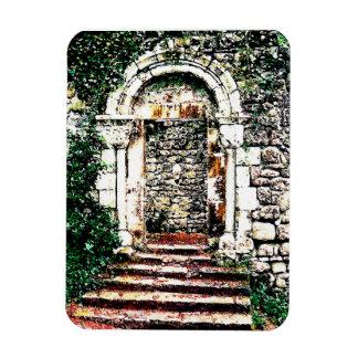 Entrada y escaleras de la roca en castillo del Moo Imanes Rectangulares