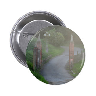 Entrance gate in the fog 2 inch round button
