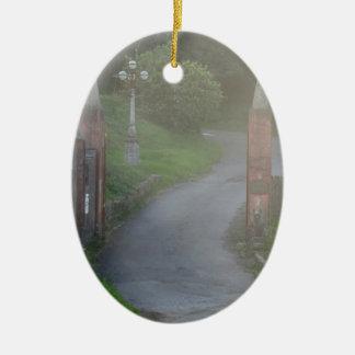 Entrance gate in the fog ceramic ornament