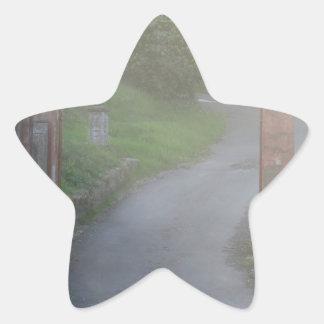 Entrance gate in the fog star sticker