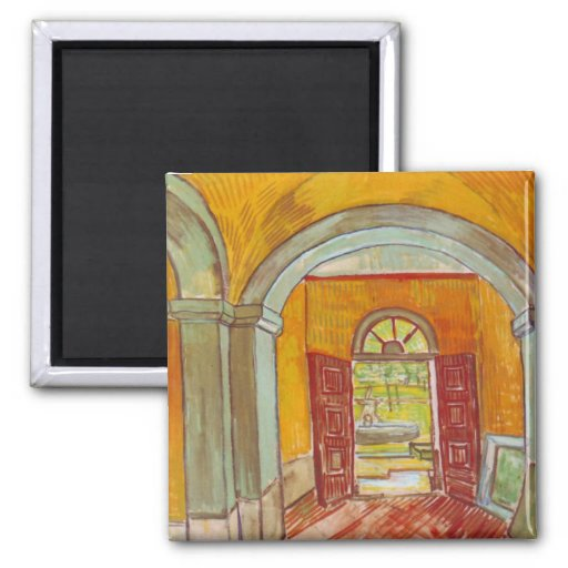 Entrance Hall of Saint-Paul Hospital by Van Gogh 2 Inch Square Magnet