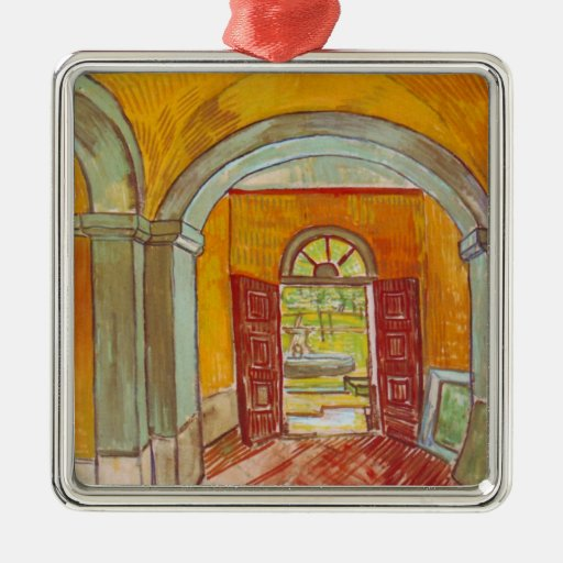 Entrance Hall of Saint-Paul Hospital by Van Gogh Metal Ornament