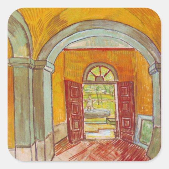 Entrance Hall of Saint-Paul Hospital by Van Gogh Square Sticker