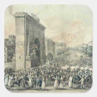 Entrance of Louis XVIII  through Porte Square Sticker