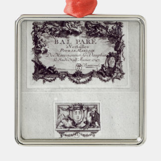 Entrance ticket for the ball in Versailles Square Metal Christmas Ornament