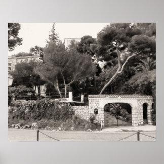 Entrance to a grand villa, Nice, French Riviera Print