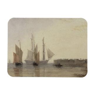 Entrance to Calais Harbour, 1829 (w/c, pen & ink, Magnet