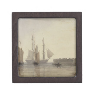 Entrance to Calais Harbour, 1829 (w/c, pen & ink, Premium Jewelry Box