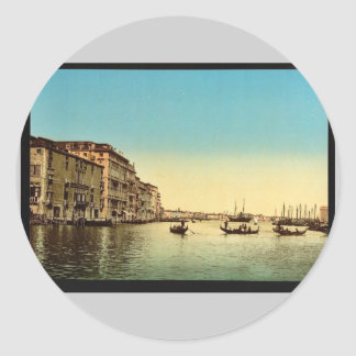 Entrance to Grand Canal, Venice, Italy vintage Pho Round Sticker