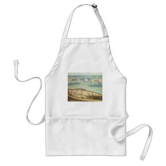 Entrance to Harbor by Georges Seurat, Vintage Art Adult Apron