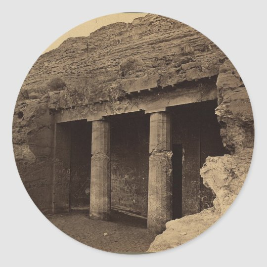 Entrance to Painted Tombs, Egypt circa 1856 Classic Round Sticker