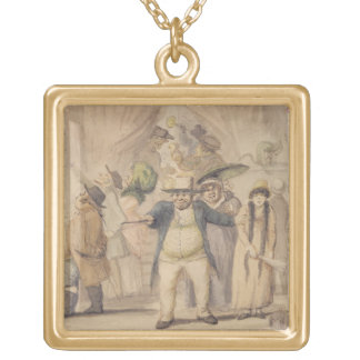 Entrance to Pidcock's Exhibition Tent at a Fair (p Gold Plated Necklace