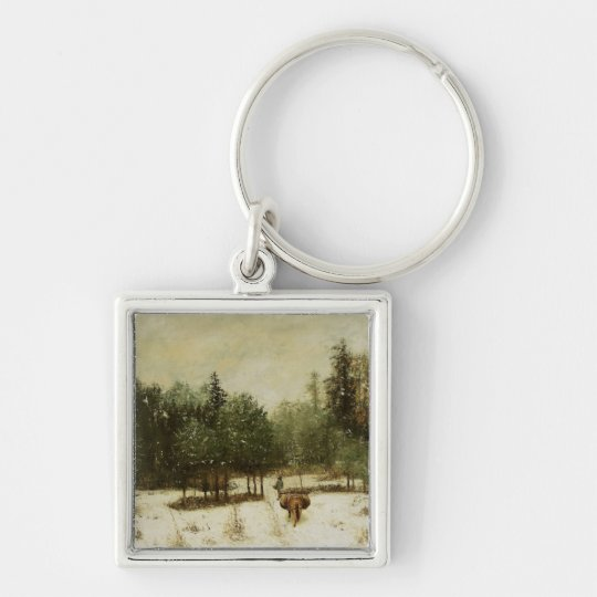 Entrance to the Forest in Winter Keychain