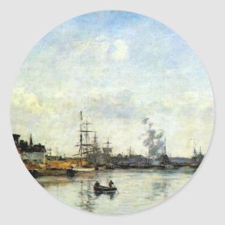 Entrance to the harbor by Eugene Boudin Classic Round Sticker