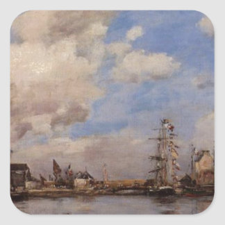 Entrance to the harbor by Eugene Boudin Square Sticker