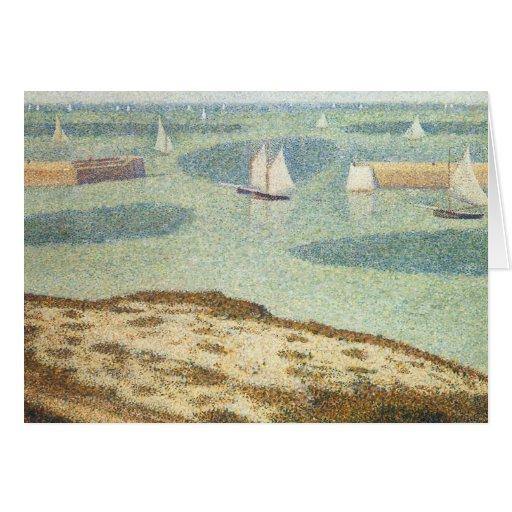 Entrance to the Harbor, Seurat Vintage Pointillism Greeting Card