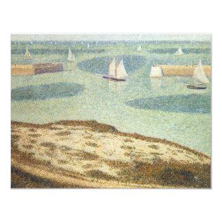 Entrance to the Harbor, Seurat Vintage Pointillism 4.25x5.5 Paper Invitation Card