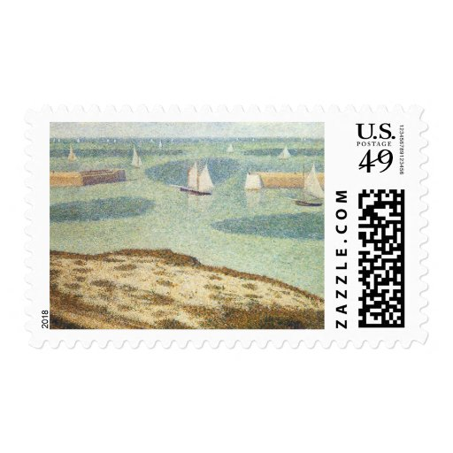 Entrance to the Harbor, Seurat Vintage Pointillism Postage Stamp