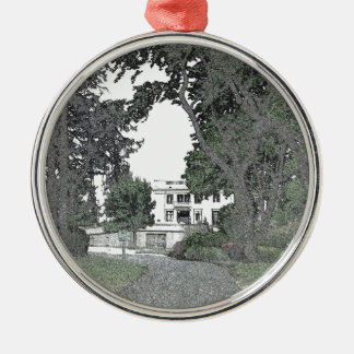 Entrance to the Mansion Through the Trees Metal Ornament