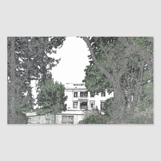 Entrance to the Mansion Through the Trees Rectangular Sticker