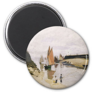 Entrance to the Port of Trouville (1870) 2 Inch Round Magnet