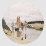 Entrance to the Port of Trouville (1870) Classic Round Sticker