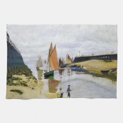 Entrance to the Port of Trouville Claude Monet Towels