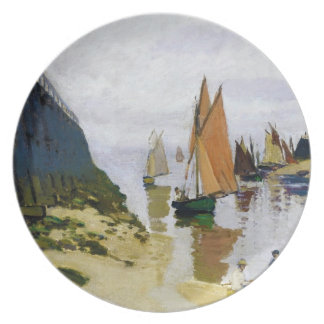Entrance to the Port of Trouville Claude Monet Plate
