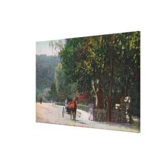 Entrance View to Shady Lane, Horse Carriage Canvas Print