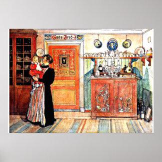 Entre el navidad y nuevo Aco, arte de Carl Larsson Póster