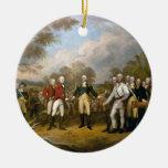 Entrega de general Burgoyne - 1822 Adorno Navideño Redondo De Cerámica