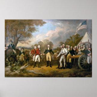 Entrega de general Burgoyne - 1822 Póster