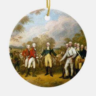 Entrega de general Burgoyne de Juan Trumbull Adorno Navideño Redondo De Cerámica