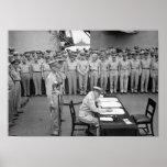 Entrega de general MacArthur Signing The japanese Póster