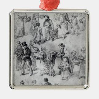 Entrega de la cena, 1841 adorno cuadrado plateado