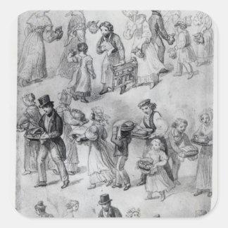 Entrega de la cena, 1841 pegatina cuadrada