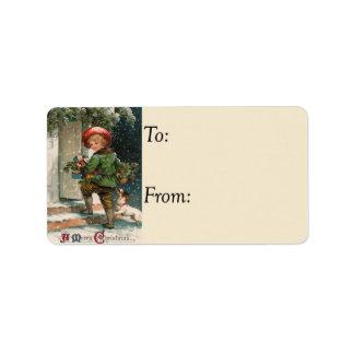 Entrega de la etiqueta del regalo del vintage de etiquetas de dirección