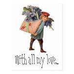 Entrega de la letra de amor del vintage, con todo postal