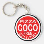 Entrega de la pizza de los Cocos Llavero Redondo Tipo Pin