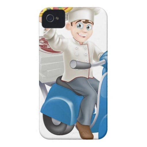 Entrega del ciclomotor del cocinero de la pizza iPhone 4 Case-Mate cárcasas