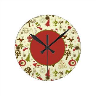 Entrega del navidad de Santa Reloj Redondo Mediano