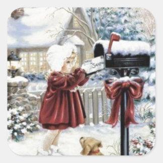 Entrega del navidad del vintage pegatina cuadrada
