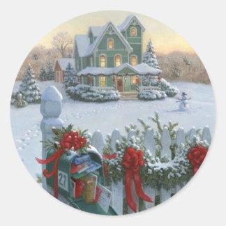 Entrega del navidad pegatinas redondas