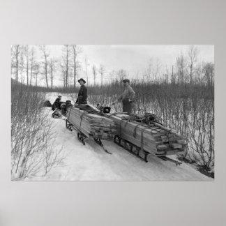 Entrega del trineo del perro 1900 posters