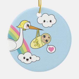 Entrega especial - cigüeña y bebé ornaments para arbol de navidad