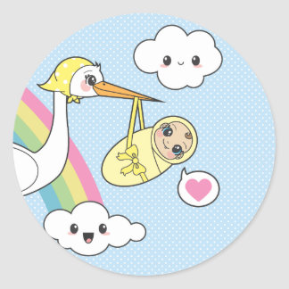 Entrega especial - cigüeña y bebé pegatina redonda